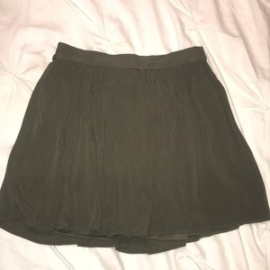 Olive Green Pleated Skater Skirt